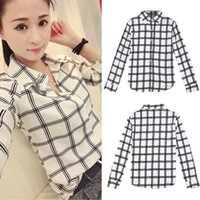 button down shirt - Korean Style Fashion Plaid Body Shirt Button Turn down Collar Women Blouse Long Sleeve Casual Blusas Camisetas Femininas G0818