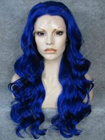 Wholesale S07 Body Wavy Long Synthetic Hair Lace Front Fashion Ladies Cosplay Party Wig Fashion Lace Wet Wavy Wig Blue