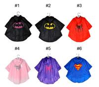 Wholesale 6 styles superhero baby kids bike raincoat for children for girls boys rainwear yellow rain poncho light thin waterproof jacket