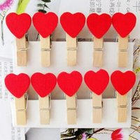 Wholesale 50pcs bag Rose Red Mini Heart Shape Wooden Peg Clips Wedding Party Gift Card Favor