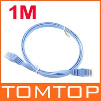 Wholesale 1m Cat6 Flat Ethernet Patch Network Lan Communication Cable RJ45 Free Drop Shipping