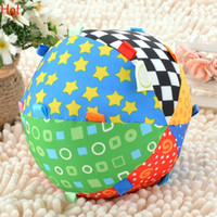 Wholesale Colorful Baby Childrens Ring Bell Ball Baby Toy Ball Educational Cotton Bell Newborn Learning Cloth Ball Music Sense Toys Colorful SV014004