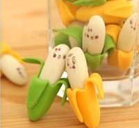 Wholesale Lovely Banana Fruit Pattern Rubber Pencil Eraser Student Kid Stationery Good Quality Brand New Hot Sales