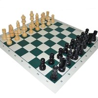 Wholesale Standard educational chess games PU leather chess board with wooden chess pieces for kids