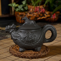 antique tea pot set - Freeshipping dragon pot Kongfu tea set Yi xing hand pull purple clay kettle antique teapot cc