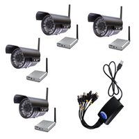 Wholesale 4PCS Channels High Power Long Range Meters Ft IR Night Vision Ft CCD GHz Wireless CCTV Camera with USB F1