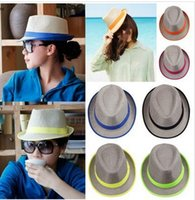 Wholesale 2015 Fashion Straw panama Fedora hats hotselling brand design sun Caps Solid Dress Hats Stylish Spring Summer Beach Sun Hat Colors Choose
