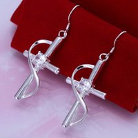Cheap Free shipping 925 sterling silver jewelry earring fine jesus crossing fashion drop jewelry earring wholesale and retail SMTE194