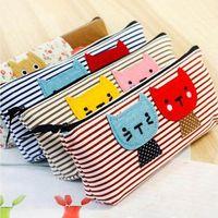 Wholesale 2015 New Cute Cartoon cat Pencil Pen bag Case Cosmetic Makeup Bag with