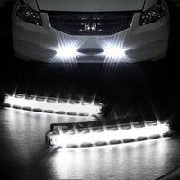 Cheap wholesale Car Truck Van Daytime Running Light Head Lamp White 8 LED DRL Daylight Kit Hot A1757