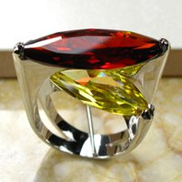 Cheap Wholesale-Huge Garnet Citrine 925 Sterling Silver Ring Size 6 7 8 9 10 R95