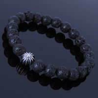 lava rock - 8mm Lava Rock Silver Cross Bead Handmade Bracelets Men s Bracelets Women s Bracelets