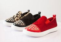 on and off - 15 off new mohair rivet leopard print single shoes children shoes boy and girls casual shoes drop shipping pairs ZL