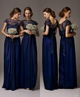 Wholesale 2015 Navy Blue Long Lace Chiffon Beach Bridesmaid Dresses with Cap Sleeve Floor Length Summer Maid Of Honor Dresses For Wedding HFBD000