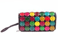 arts and crafts bags - Special arts and crafts Coconut hand bag Coconut shell zero wallet purse pure manual weaving bag purse