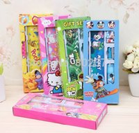 Wholesale ALL Sets cartoon novelty cute children stationery set for kids gifts school students Stationery Set in