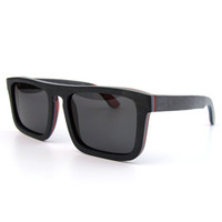 wood eyewear - hot sales skateboard sunglasses pilot flat top wood sun glasses gafas de sol men eyewear P003SK black