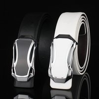 Wholesale Fashion leather belts for men Business Jeans casual Alloy Automatic Buckle black white waist strap belt brand Car design good quality