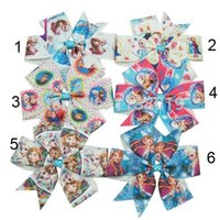 Wholesale 6pcs sets Boutique Girl baby quot cartoon Hair Bows Grosgrain Ribbon clip novelty gift