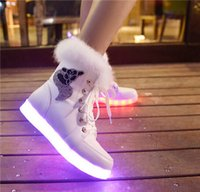 Cheap 2015 Winter Big Children Big Girl Student Shoe Led Boots USB Charge 2 Colors White Black Size 35-40