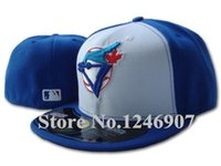 Wholesale One Bule Jays Classic Baseball Fitted Hats Men s Sport Cotton Casual Full Closed On Field Caps blue white color