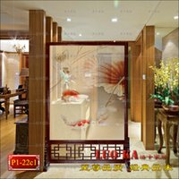 Wholesale Chinese high end fashion bedroom hollow wall panels fish bearing seat screen fabric of modern living room entrance wood