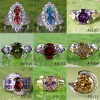 Wholesale Cheap Only Colorful Rings Light Purple White Pink Burgundy Red Round Rectangle Cut Topaz Gems Sliver Plated Princess Wedding Lady Ring