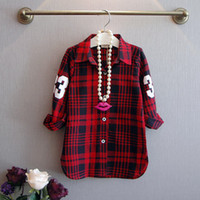Wholesale 2 Colors children s clothing new style baby girls shirts Digital plaid long sleeved shirt jacket kids casual shirt