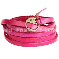 leather bracelets for men - 2015 Sep New European and American Popular Leather Strap Wrapped Laps Genuine Brief Style For Men Women Couples Lovers