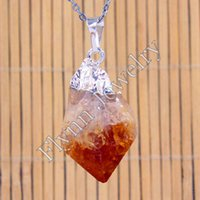 Cheap Gold Silver Plated Natural Stone Citrine Topaz Crystal Teeth Crystalfang Reiki Pendant Charms Amulet Fashion Jewelry 10pcs