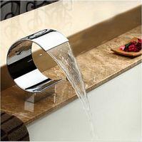 big basin waterfalls - Big C shape Waterfall Spout For Basin Bathtub Deck Mount Polished Chrome Bathroom Faucet Accessories