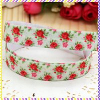 Wholesale 5 inch Fold Over Elastic FOE flowers printed headband headwear diy hair band OEM H2647