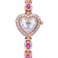 Wholesale 2016 luxury watches ladies waterproof watch red diamond Rose Gold Dress Wedding Quartz Wrist Watch Valentine s Day present For girlfriend