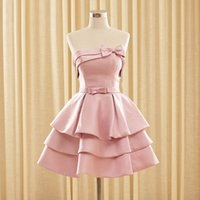 Wholesale 2015 Homecoming Dresses Under A Line Strapless Knee Length Satin Bows Tiers Cocktail Party Dresses W6166