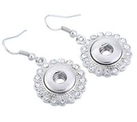 Wholesale NOOSA chunks mini snap button crystal round silver earrings Fashion hot Interchangeable Jewerly for women