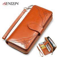 Wholesale 2016 New Arrival Baroque Oil Wax Cowhide Women Wallet Purse High Quality Zipper Real Leather Famous Brand Large Capacity Long Wallet color