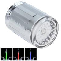 Wholesale 31 mm No battery Automatic RGB Color LED Light Change Faucet Shower Water Tap Temperature Sensor