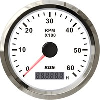 Wholesale 85mm tachometer SV KY07106 white faceplate red light stainless steel bezel car marine truck KL rpm for gas engine