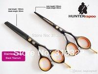 Wholesale 5 quot inch Black Color Barber Scissors Set Razor Thinning Scissor with a bag best C Quality Professional Hair Salon Scissors A3
