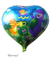barney party supplies - 50 quot inch Heart shape Barney Helium balloons kids birthday Wedding party supplies Inflatable toys gifts for children games