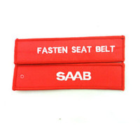 aviation seat belts - Embroidered Fasten Seat Belt Saab Key Chain Aviation Luggage Motorcycle Pilot Crew Bag Tag x cm