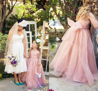 Wholesale 2015 Princess Pink Flower Girl Dresses For Weddings Organza Long Floor Length Bow Sash Jewel Sleeveless Girls Pageant Dresses HFFG0003