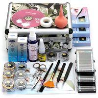 Cheap 2014 New Professional False Extension Eyelash Glue Brush Kit Set with Case Box Salon Eyelashes Makeup Tool