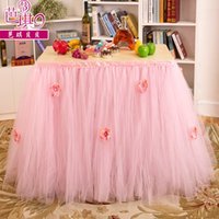asia beads - Pink Tulle Tutu Table Decoration Wedding Supplies Cheap Modest Hand Made Flower Beads Sexy Table Decoration Custom Made Elegnat