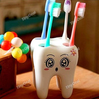 corner bracket - Cartoon Cute Hole Fashion Tooth Style Toothbrush Holder Bracket Container for Bathroom