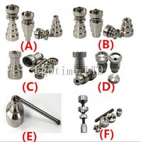 Wholesale Universal Infinity Domeless Titanium Nail mm mm Adjustable Male or Female Oil Gr2 domeless Carb Cap nails for Glass Pipe Bong