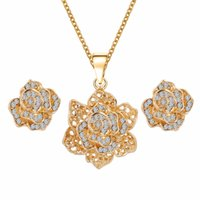 australian diamond jewelry - Bridesmaid Jewelry Set For Women Bridal Wedding Alloy Gold Australian Crystal Diamond Jewelry Necklace Earrings Swarovski Party Jewelry Set