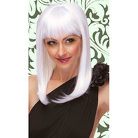 Wholesale Fashion Ladies Womens White Shoulder Length Wigs Straight Wig Party Club Wig for Womens Charming Style