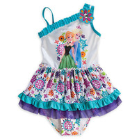 Wholesale 2016 swimming wear kids Anna and Elsa Tankini with cap kids swimming suits for Girls beach wear bathing suits summer