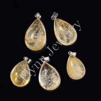 Cheap Different Cabochon Mini Topaz Citrine Natural Stone Pendant Charms Women Ladies Amulet Fashionable Jewelry 10pcs